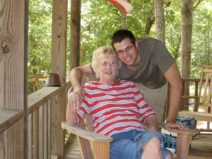 With grandson Patrick Torma, Fourth of July 2008.