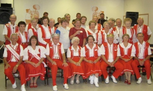 Mr. Cernoch (front row, third from left, wearing crown) and his beloved Polka Klub of America.